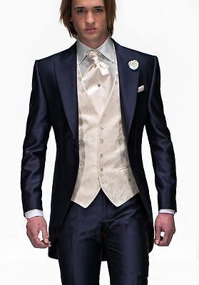 V01 Navy Blue Groom Tuxedos Peak Lapel Best Man Suit Groomsman Men Wedding Suits