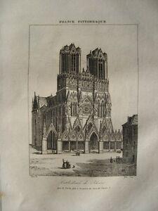 Charmant Gravure Xixè - Cathédrale De Reims - Marne - 1835 Jouir D'Une RéPutation éLevéE Chez Soi Et à L'éTranger