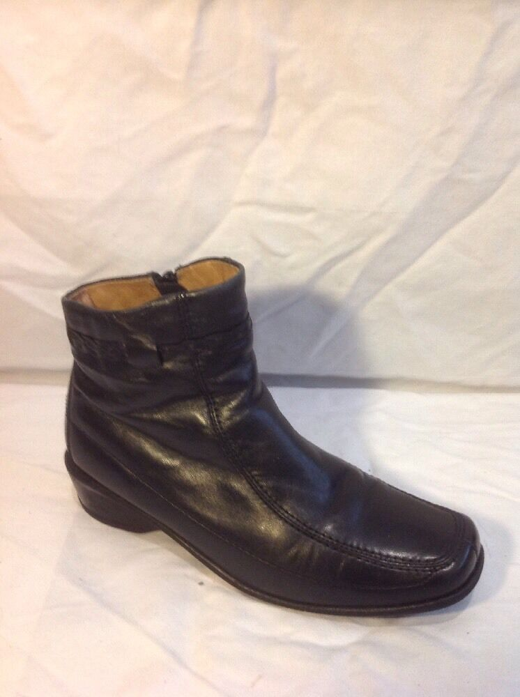 Lotus Black Ankle Leather Boots Size 3