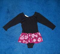 Girl Black Long Sleeve Moret Dance Skate Leotard Outfit Size 4 - 5 Xsmall