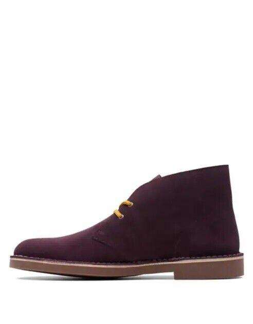 Nuevo Clarks Bushacre botas Desierto 2 Gamuza Chukka US9 púrpura Tobillo Chelsea Trabajo
