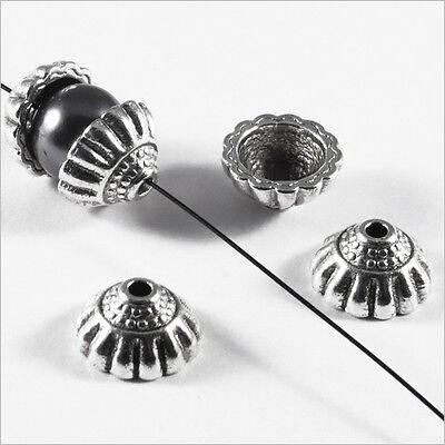 Trous 1,5mm Lot 20 Calottes pour Bijoux Fleurs Métal style tibétain 10mm