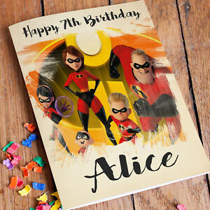 Image Is Loading Incredibles Personalised Birthday Card FREE Shipping Son Daughter