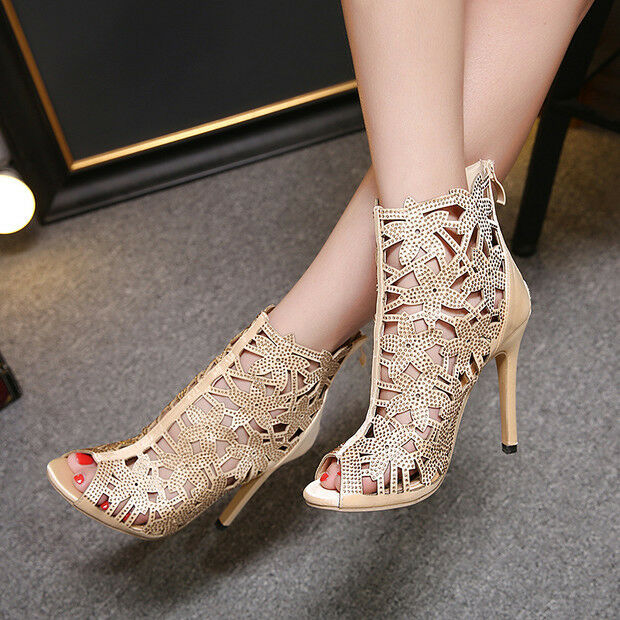 Sandalei stivali estivi tacco tacco estivi stiletto 11 cm beige 9707 simil pelle ... 85ff0e