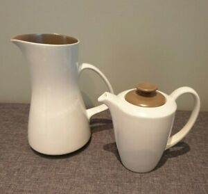 Poole-Pottery-Twintone-Sepia-and-Mushroom-Jug-and-Coffee-Pot-Stoneware-England
