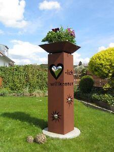 Saeule-Rost-Herz-mit-Schale-Metall-Edelstahlkugel-Garten-Deko-Stele-Dekoration