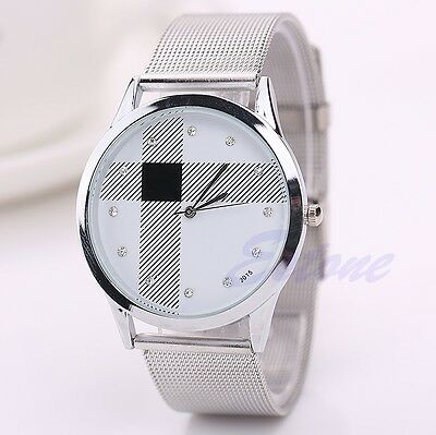 Fashion Casual Luxury Men's Women Stainless Steel Rhinestone Quartz Wrist Watch