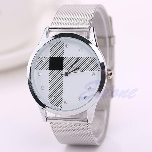 Fashion Casual Luxury Men's Women Stainless Steel Rhinestone Quartz Wrist Watch