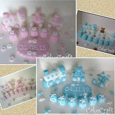 8 Cupcake Tops Christening Baptism Boy Personalised Iced Icing Cake Topper
