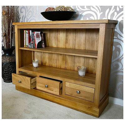 Small Low Solid Oak Bookcase | Light Oak | Hallway Furniture 504