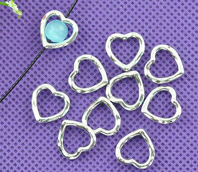 LOVE Silver Heart Bead Frames 14x14mm Jewellery Findings 250