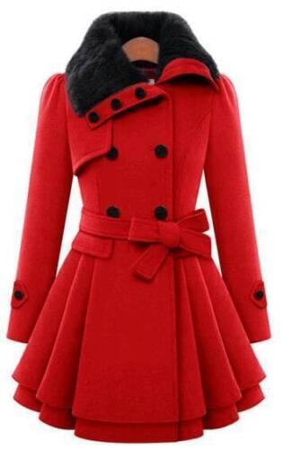 Women/'s Ladies Fur Collared Winter Long Peacoat Coat Trench Outwear Jacket Dress