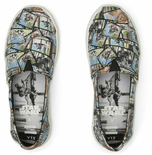 Tom/'s Youth Star Wars Multi Ewok Print Shoes New in Box White