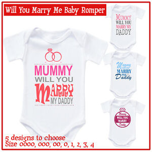 b3f6efb7c Image is loading Personalised-Baby-Romper-Bodysuit-Mummy-will-you-marry-
