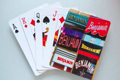 Personalized Playing Cards featuring BENJAMIN in photos of actual signs