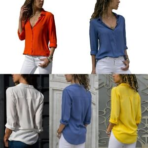 Womens-Chiffon-V-neck-Top-Long-Sleeve-Shirts-Blouse-Loose-T-shirt-Fall-Collar-US