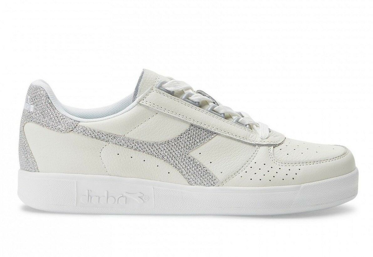 Diadora B.Elite L WN shoes women white silver Glitter C0516 Scarpa Ginnastica
