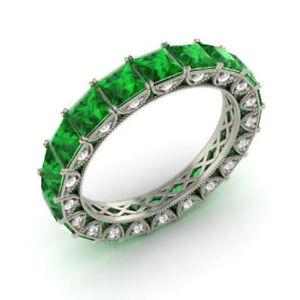 Emerald Wedding Band.Details About 4 40 Carat Genuine Emerald Wedding Band 950 Platinum Diamond Ring Size 5 6 5 7 8