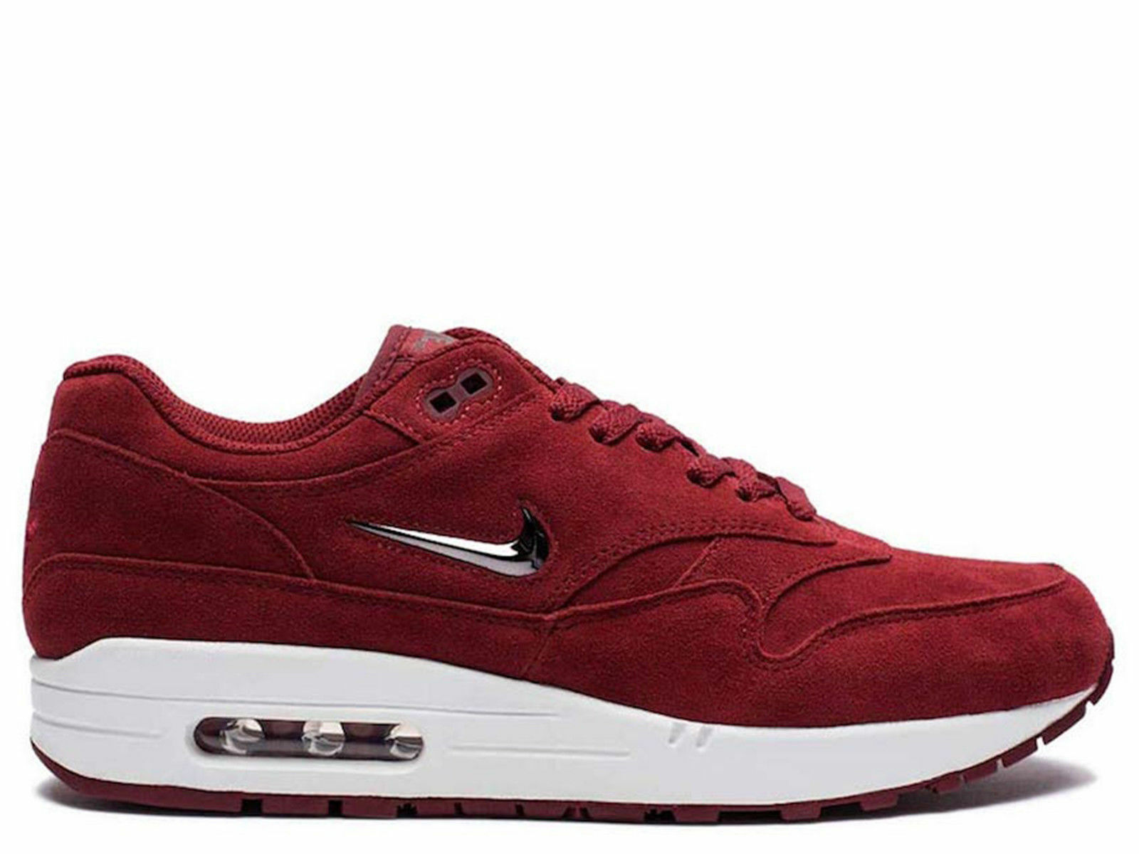 NIKE AIR MAX 1 PREMIUM CASUAL SHOES SIZE  12 TEAM RED GREY 918354 600