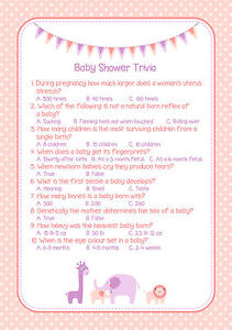 Pack Of 20 Baby Shower Trivia Game Pink Girl A5 Size Ebay