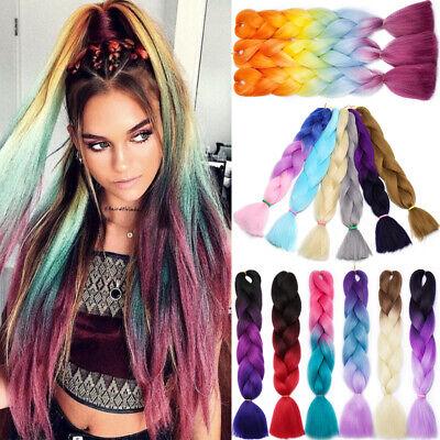 Ombre Rainbow Box Braids Crochet Plaited Kanekalon Jumbo