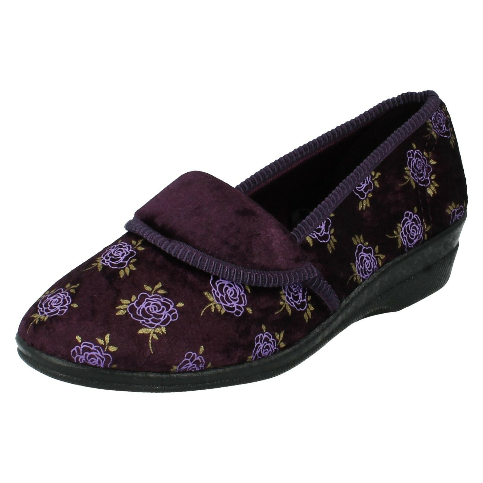 LADIES ROSE PRINT DESIGN CASUAL SLIP ON SLIPPERS SHOES 203112