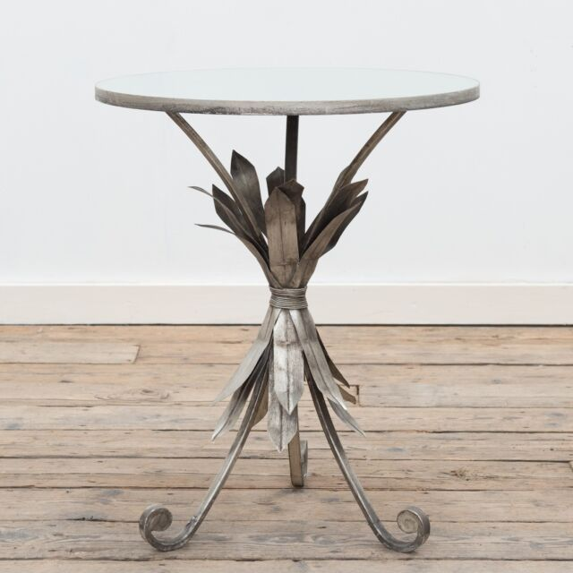 the latest 058d6 41b11 Gin Shu Pineapple Leaf Silver Metal Round Coffee Console Side End Table