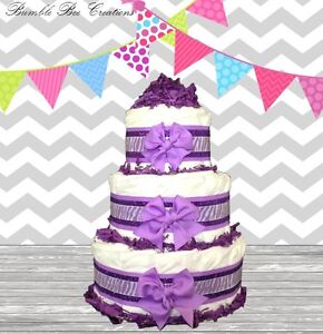 Image Is Loading Purple Amp Lavender Zebra Print 3 Tier Diaper