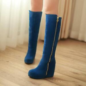 Ladies-Boots-Faux-Suede-Wedges-Heels-Zip-Up-Knee-High-Boots-Platform-Shoes-New