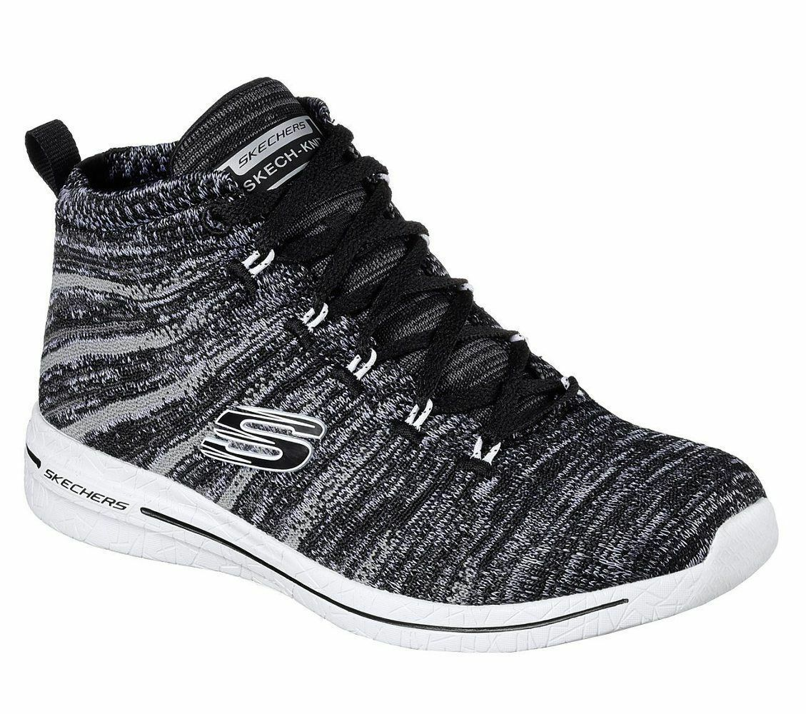 SKECHERS  Burst 2.0 New Edge Hi Tops Black White, SIZE UK 2, EUR 35, USA 5