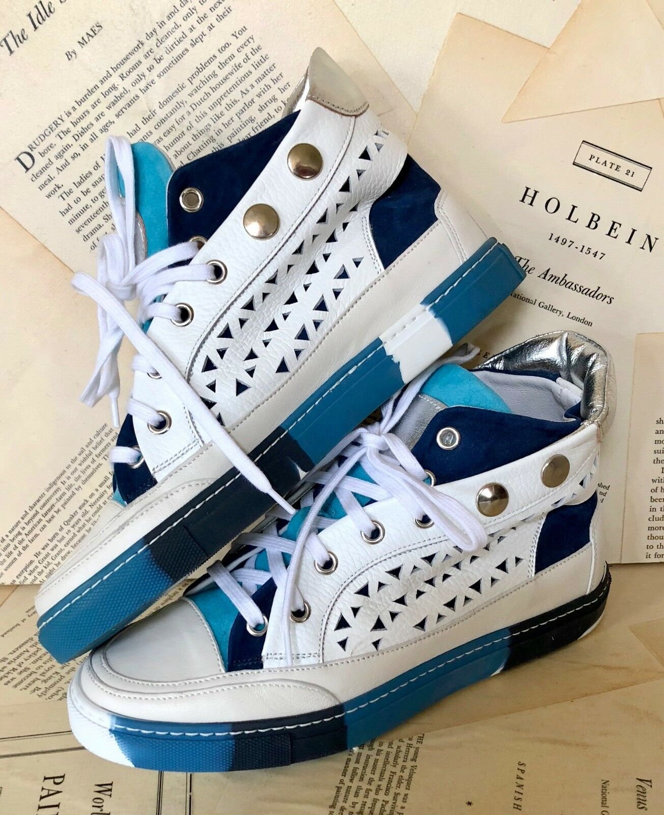 NEW Free People white Leather Laser Cut Studded Hi Top Sneaker Boot 36   5.5-6