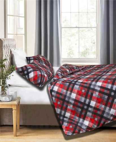 Rouge, Gris, Noir FRIENDS AT HOME 100/% turque flanelle de coton parure de lit