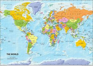Cartina Del Mondo Politico.Dettagli Su La Mappa Del Mondo Politico Carta Laminata A2 Mostra Il Titolo Originale