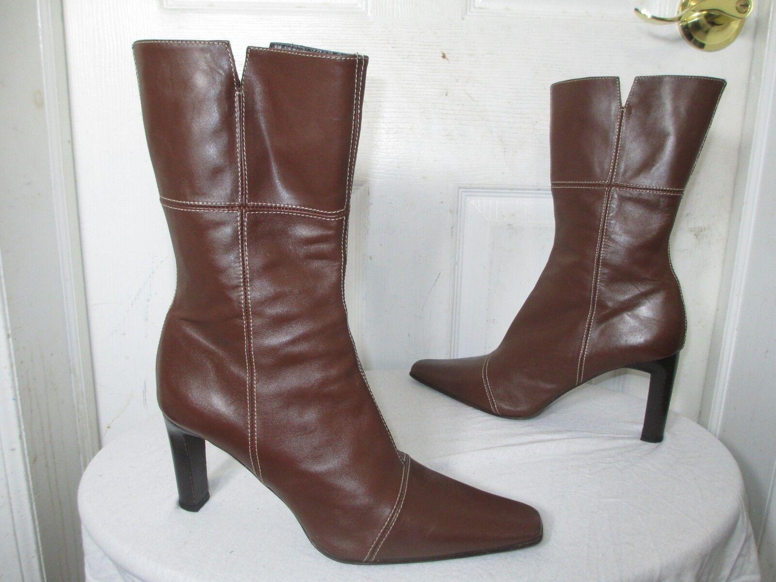 ENZO di Siena para Mujer Marrón Marrón Marrón Cuero Tacón mitad de la pantorrilla cremallera botas 41 US 10 Made in   buen precio