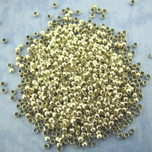 QUETSCHPERLE altsilberne Quetschperlen 2mm rund Perle Schmuck Basteln Beads #