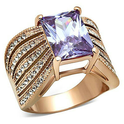 Amethyst CZ Ring Rose Gold Stainless Steel Statement Ring w Accents