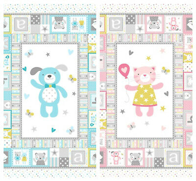 TINY TOTS by Michael Miller 100/% cotton panels puppy or cat