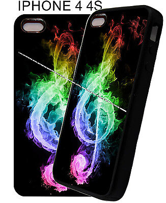 Case Cover For Apple IPhone 4s 5s 6 7 Music Neon Clef Note Colorful Rubber Phone