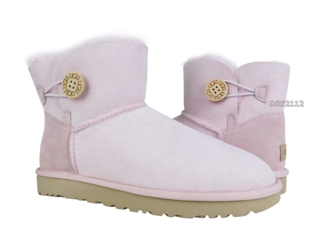45c32dfef10 UGG Mini Bailey Button II Womens 1016422-slpn Seashell Pink Suede BOOTS  Size 9