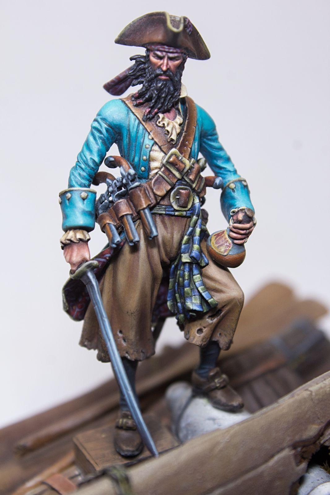 Pintado En Miniatura Pirata Negrobeard Andrea RPG, Fantasía. histórico Pro Pintado