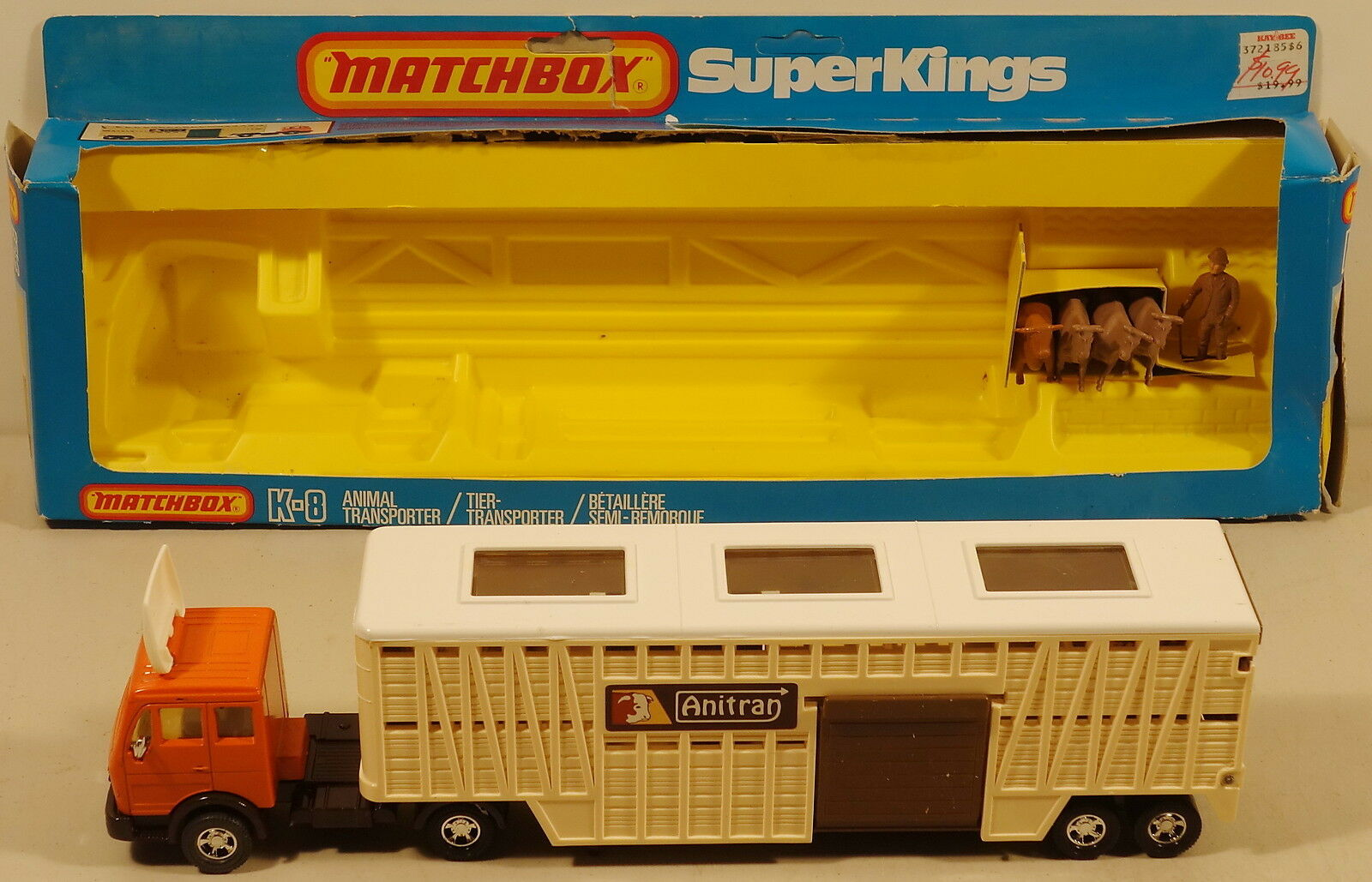 DTE LESNEY MATCHBOX SUPERKINGS SK-8 CREAM TRAILER BROWN DOOR ANIMAL TRANSPORTER