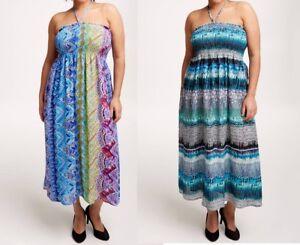 Détails sur robe longue été smockée, 2 coloris au choix,, taille 46 48 50 52 neuf