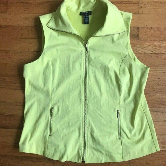 ATTYRE New York Women's Stretch Zip Vest Neon Lemon Yellow Stylish NWOT Size XL