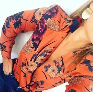 2902b7fa Zara Floral Bodysuit with Long Sleeves V Neck Wrap Bloggers 5580/312 ...