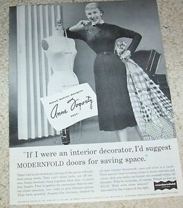 1956 Vintage Ad Fashion Designer Anne Fogarty For Modernfold Doors Print Advert Ebay