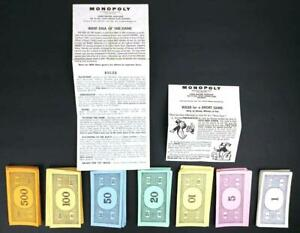 Monopoly-1961-Money-amp-Instructions-replacement-238-Paper-Bills-Vintage-Game