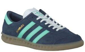 Details about Ladies Adidas Originals Hamburg Trainers / Pumps Midnight Blue/Green