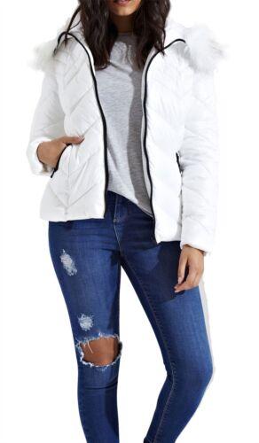 NUOVA linea donna Chevron Stitch manica lunga Puffer IMBOTTITO PELLICCIA SINT Cappotto Giacca Con Cappuccio