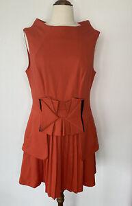 Cue Dress Orange Pleated Skirt Bow Size 12