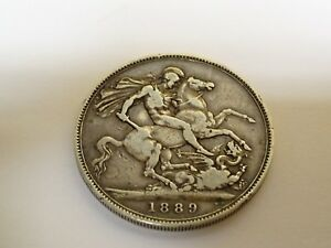 Collectable-1889-Victorian-Sterling-Silver-Crown-Coin-Ref-1